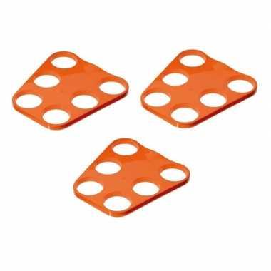 3x oranje plastic bier tray voor 6 glazen prijs
