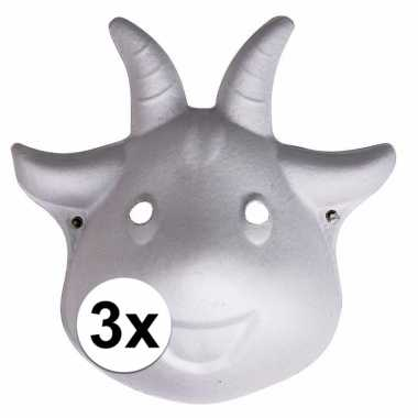 3x papieren geiten masker 22 cm prijs