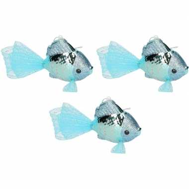 3x petrol blauwe vis kerstornamenten kersthangers 8 cm prijs