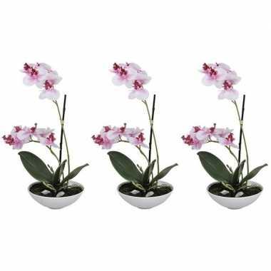 3x phalaenopsis kunst plant in pot 25 cm roze prijs