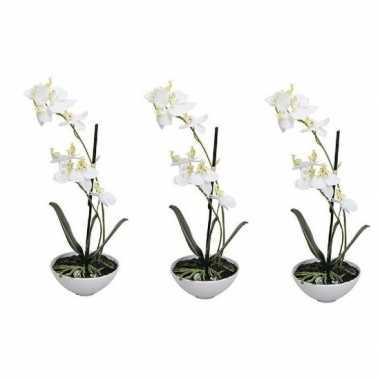 3x phalaenopsis kunst plant in pot 25 cm wit prijs