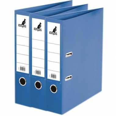 3x ringmappen/ordners blauw a4 75 mm prijs