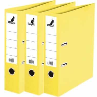 3x ringmappen/ordners geel a4 75 mm prijs