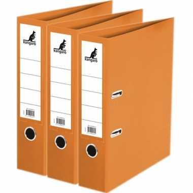 3x ringmappen/ordners oranje a4 75 mm prijs