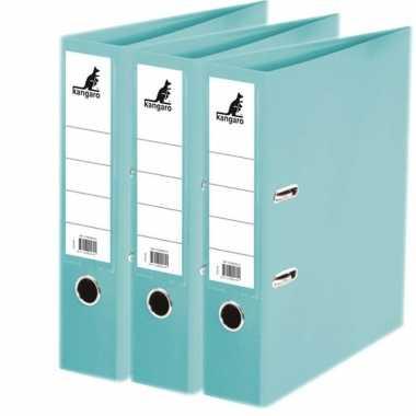3x ringmappen/ordners turquoise a4 75 mm prijs