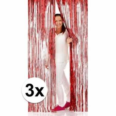 3x rode folie deurgordijnen 2 x 1 meter prijs