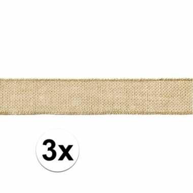 3x rol jute lint 5 x 500 cm cadeautjes verpakken prijs