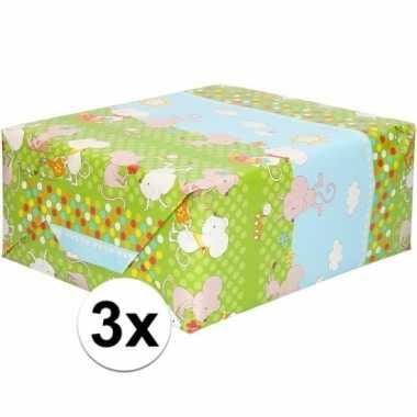 3x rol kinder inpakpapier met muizen print 200 x 70 cm prijs