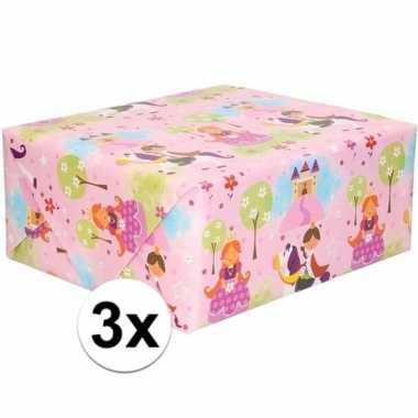 3x rol kinder inpakpapier met prinsessen print 200 x 70 cm prijs