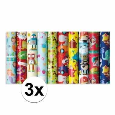 3x rol kinderverjaardag inpakpapier met boerderij dieren 200 x 70 cm