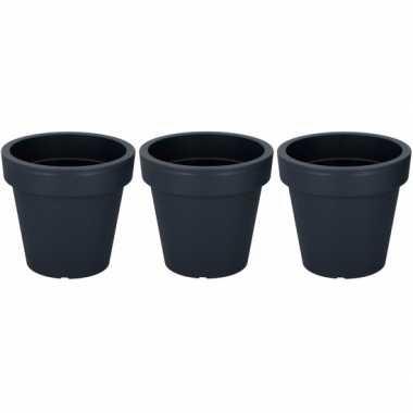 3x ronde grijze kunststof plantenpot 24 cm prijs