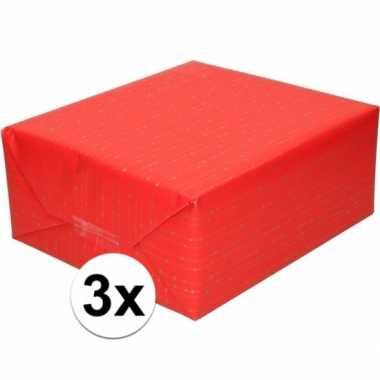 3x rood cadeaupapier met gouden lijnen 70 x 200 cm prijs