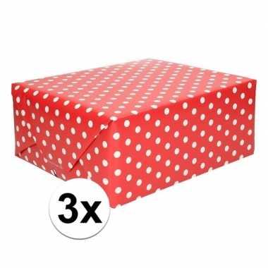 3x rood cadeaupapier met witte stip 70 x 200 cm prijs