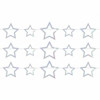 3x sterren holografische feest versiering vlaggenlijnen 4 meter prijs