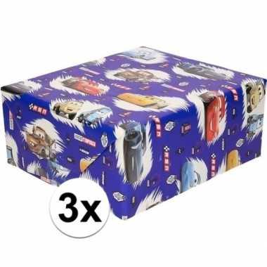 3x verjaardag disney kadopapier cars blauw 200 x 70 cm prijs