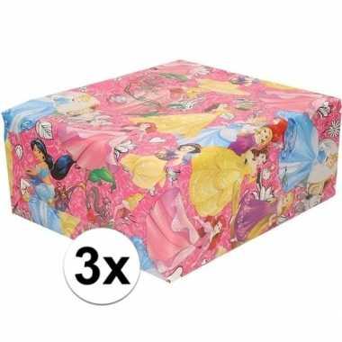 3x verjaardag kadopapier disney princess roze 200 x 70 cm prijs