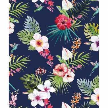 3x verjaardagscadeau inpakpapier blauw met hibiscussen 70 x 200 cm pr