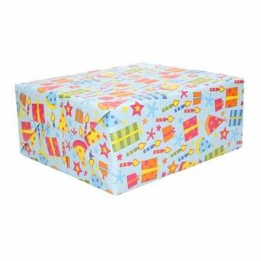 3x verjaardagscadeau inpakpapier feesthoedjes 70 x 200 cm prijs