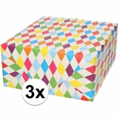 3x verjaardagscadeau inpakpapier ruitjes 70 x 200 cm prijs