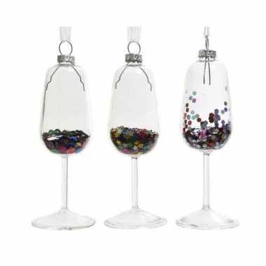 3x wijnglazen kerstornamenten kersthangers 8 cm prijs