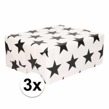 3x wit cadeaupapier met zwarte sterren print 70 x 200 cm prijs