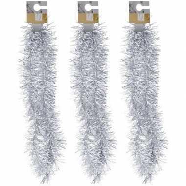 3x zilveren folieslingers fijn 180 cm prijs