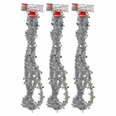 3x zilveren kerstboom slingers 270 cm prijs
