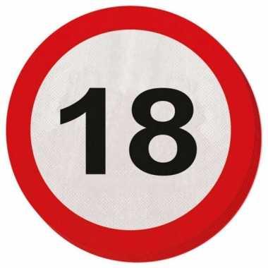 40x achttien/18 jaar feest servetten verkeersbord 33 cm rond verjaard