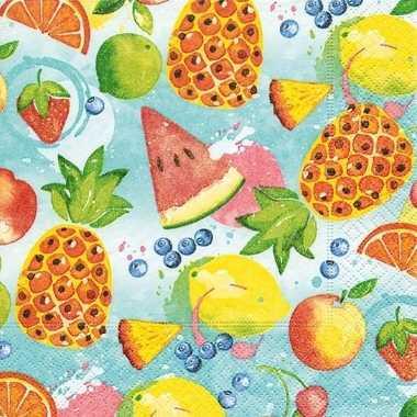 40x feest servetten tropisch fruit 33 x 33 cm prijs