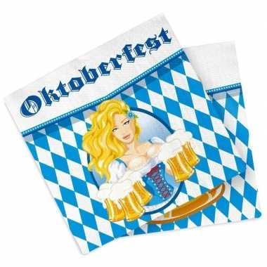 40x oktoberfest/bierfeest feest servetten blauw 33 x 33 cm prijs