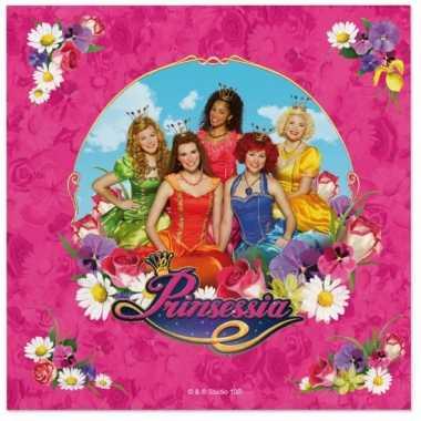 40x prinsessia feest servetten roze 33 x 33 cm kinderverjaardag prijs