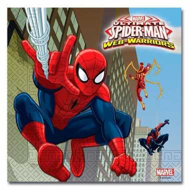 40x spiderman warrior feest servetten 33 x 33 cm kinderverjaardag pri