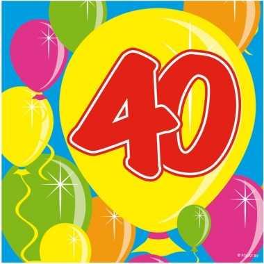 40x veertig/40 jaar feest servetten balloons 25 x 25 cm verjaardag/ju
