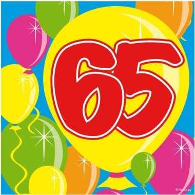 40x vijfenzestig/65 jaar feest servetten balloons 25 x 25 cm verjaard