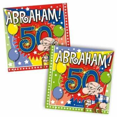 40x vijftig/50 jaar abraham feest servetten ballonnen 25 x 25 cm verj