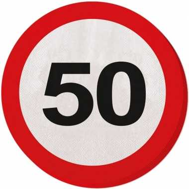 40x vijftig/50 jaar feest servetten verkeersbord 33 cm rond verjaarda