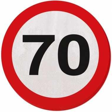 40x zeventig/70 jaar feest servetten verkeersbord 33 cm rond verjaard