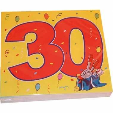 48x dertig/30 jaar feest servetten confetti 33 x 33 cm verjaardag/jub