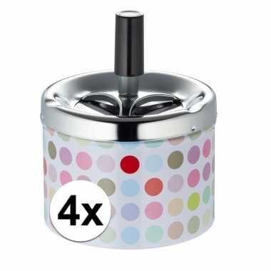 4x asbak met gekleurde stippen en draaimechanisme prijs