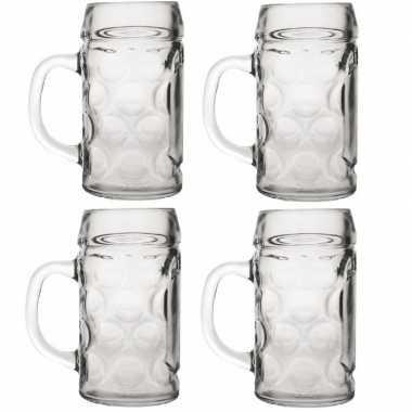 4x bierpullen/bierglazen van 1 liter prijs