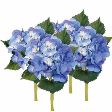 4x blauwe hortensia kunstbloemen met steel 48 cm prijs