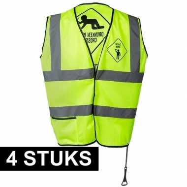 4x geel veiligheidsvest drunken people voor heren prijs