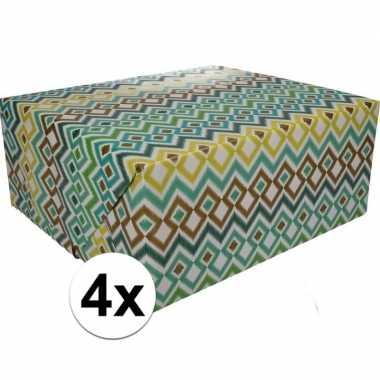 4x gekleurd cadeaupapier 70 x 200 cm type 3 prijs