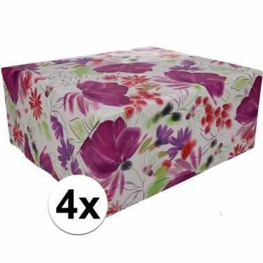 4x gekleurd cadeaupapier 70 x 200 cm type 9 prijs