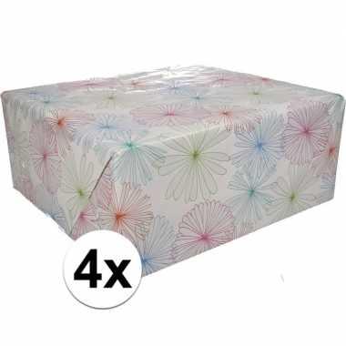4x gekleurd cadeaupapier met bloemen 70 x 200 cm type 1 prijs