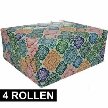 4x gekleurd cadeaupapier met floral print 70 x 200 cm type 5 prijs