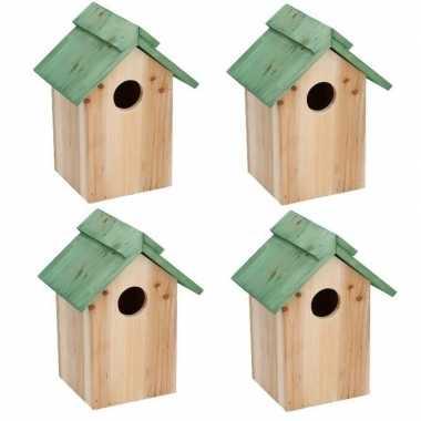 4x groen vogelhuisje voor kleine vogels 24 cm prijs