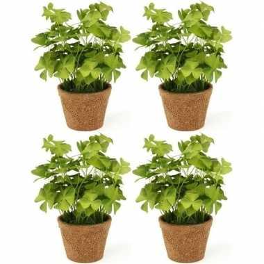 4x groene kunstplanten klaverzuring planten in pot 25 cm prijs