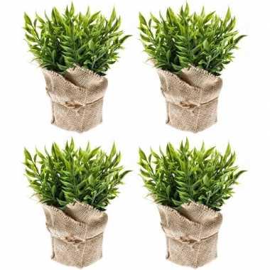 4x groene kunstplanten muizendoorn kruiden planten in pot prijs