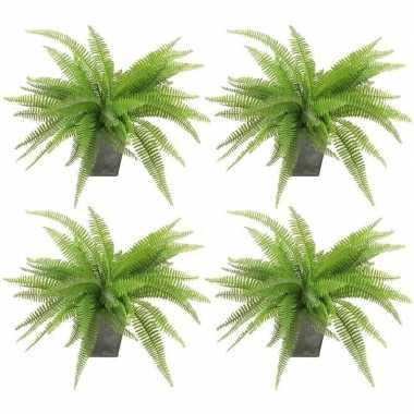 4x groene varen kunstplant 33 cm in zinken pot prijs